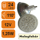 LED lámpa MR16 (24 LED) Melegfehér